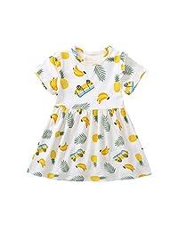Vincent&July Baby Girls Pineapple Banana Print Dress Summer Sundress 1-5T
