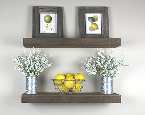"""Solid Rustics - Reclaimed Wood Rustic Floating Shelves, Walnut, Made in USA, (Set of 2) (2"""" H x 24"""" W x 6"""" D)"""
