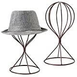 MyGift Modern Metal Hat Stands, Tabletop Decorative Wig Holders, Set of 2, Brown