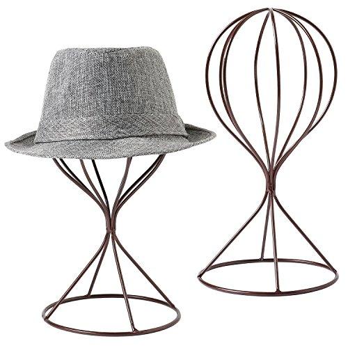 MyGift Modern Metal Hat Stands, Tabletop Decorative Wig Holders, Set of 2, Brown (Hat Hanging Ideas)