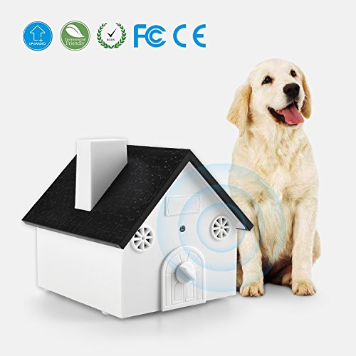 (Ultrasonic Outdoor Dog Bark Controller Anti-Barking Device Sonic Bark Deterrents Training Tool, Safe for Dogs, Pets and Human, Birdhouse Shape up to 50 Feet Range, Hanging or Mounting)