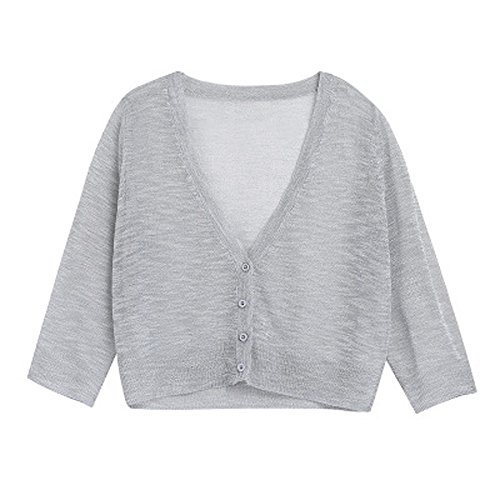 Cardigans Casual resistant V Neck Thin Color Sun Summer Gris Cardigan Solid FWBZ5ca7ZA