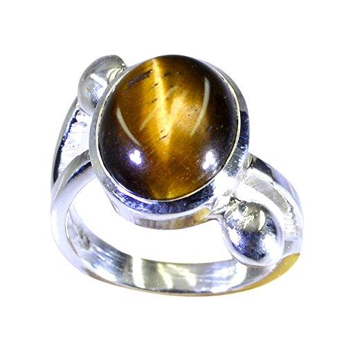 55Carat Genuine Tiger Eye Sterling Silver Ring For Women Oval Shape Split Shank Size (Cushion Cut Tigers Eye Ring)