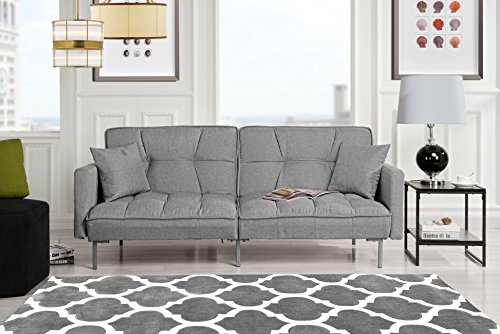 Divano Roma Furniture Collection – Modern Plush Tufted Linen Fabric Splitback Living Room Sleeper Futon (Light Grey)