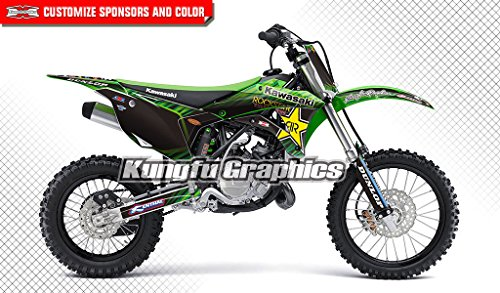 (Kungfu Graphics Rockstar Custom Decal Kit for Kawasaki KX 85 KX 100 2014 2015 2016 2017 2018 2019, Green Black)
