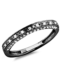 Dazzlingrock Collection 0.40 Carat (ctw) Black Rhodium Plated 18K White Gold Black & White Diamond Wedding Band