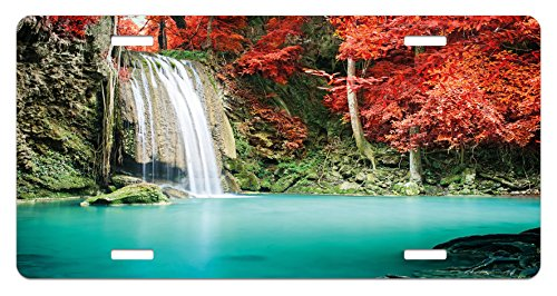 Ambesonne Waterfall License Plate, Nature Single Waterfall in Corner of The Deep Forest with Fair Fall Oak Trees, High Gloss Aluminum Novelty Plate, 5.88 L X 11.88 W Inches, Red and Blue