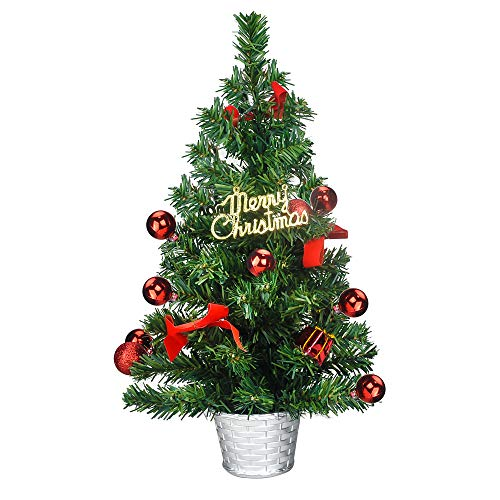 TIOVERY Tabletop Christmas Tree, 18 Inch Mini Small Christmas Pine Tree with Decorated Red Balls Baubles Ornaments and Sliver Metal Bowl for Indoor Outdoor Holiday Decoration