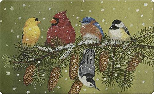Toland Home Garden Snowy Friends 18 x 30 Inch Decorative Floor Mat Winter Bird Branch Pine Doormat - 800093