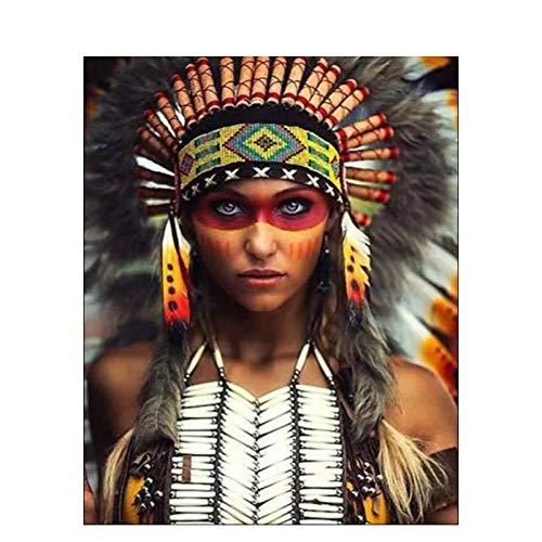 Pintar Por Numero - Mujer sexy india - Para, Ninos, Adultos Y Adultos Mayores, Diy Pintura Al Oleo Con Lino 16X20 Pulgadas Lienzo Arte Pintura Decoracion Hogar - (Sin Marco)