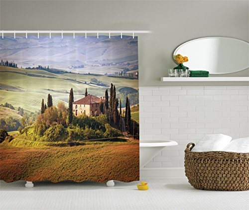 Ambesonne Tuscan Decor Collection, Tuscany Seen from Stone Ancient Village of Montepulciano Italy Photography, Polyester Fabric Bathroom Shower Curtain Set, 84 Inches Extra Long, Green - Woodland Hills At Village
