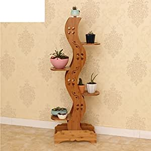 Bamboo flower racks shelf multilayer flower racks balcony flowerpot rack living room indoor flower-A