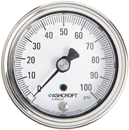 ASHCROFT Duralife Type 1009 Stainless Steel Case Dry Filled Pressure Gauge, Stainless Steel Tube and Bronze Socket, Individual Certified Calibration Chart, 2.5