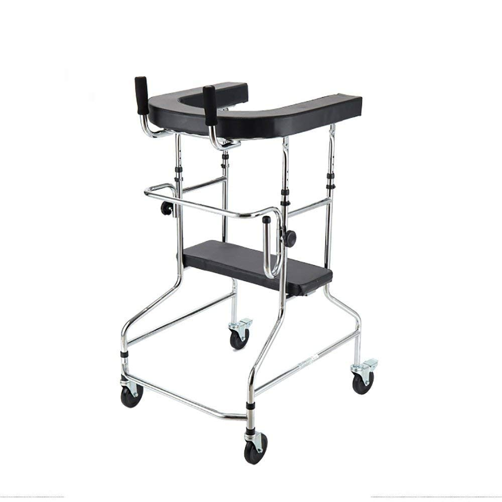 Aluminum Alloy Folding Walker with Armrest Pad and Wheel Limited Movement Aid for Elderly Disabled Persons with Standard Walker Auxiliary Walking Safety Walker