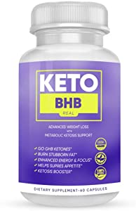 Keto BHB Real Capsules - Keto BHB Capsules for Weight Loss - Keto BHB Advanced Weight Loss Formula (60 Capsules, 1 Month Supply)