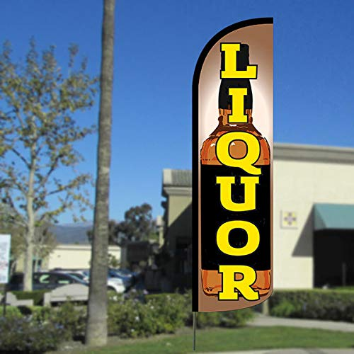 Liquor (Bottle) Windless Feather Flag, FLAG ONLY (11.5' Tall x 3' Wide)