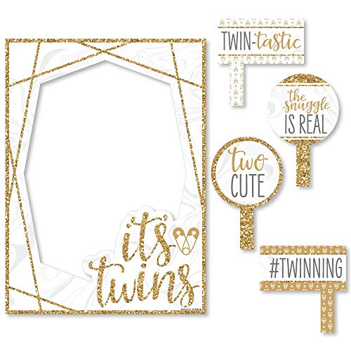 Big Dot of Happiness It's Twins - Gold Twins Baby Shower Selfie Photo Booth Picture Frame and Props - Printed on Sturdy - Frame Oh Baby Picture