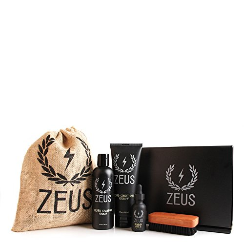Zeus Deluxe Beard Grooming Kit for Men – Beard Care Gift Set to Soften Hairs and Prevent Itchiness and Dandruff (Verbena Lime)