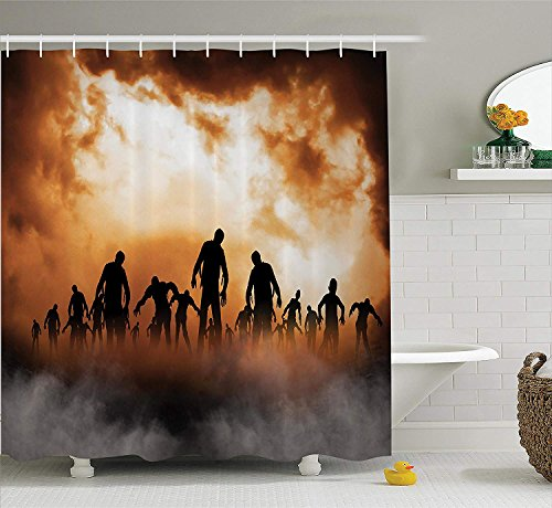U coolhouse Halloween Decorations Shower Curtain Set, Zombies Dead Men Body Walking in The Doom Mist at Dark Night Sky Haunted Decor, Bathroom Accessories, 69W X 70L inches, Orange Black -