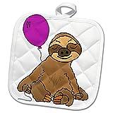 3dRose All Smiles Art Animals - Funny Sloth with Purple Balloon Cartoon - 8x8 Potholder (phl_288116_1)
