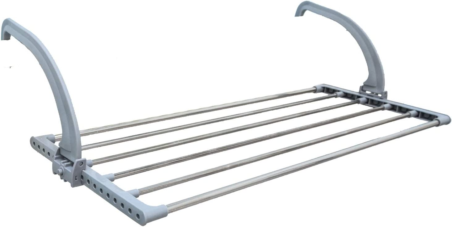 EYEPOWER Drying Rack for clothes underwear towels 82x32x20.5cm folding laundry Airer to be hang on radiators balcony railing adjustable depth stainless steel