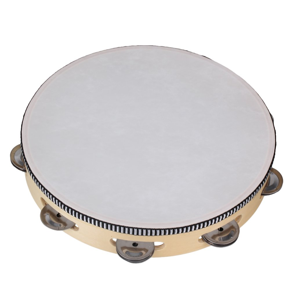 BQLZR 10'' Wooden Musical Tambourine Hand Drum Beat for Singing and Dancing Percussion Instrument Drum Bell Metal Jingles N00566