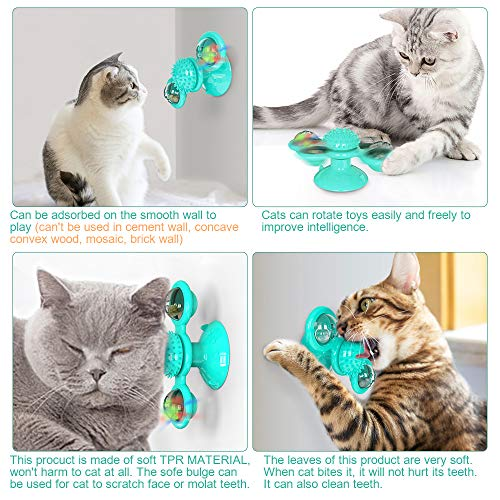 Bigeyescute Windmill Cat Toy cat Brush for Indoor cat Toothbrush Fun pet Interactive Rotating Windmill Little cat Toy with Catnip