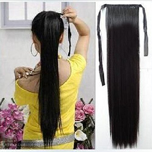 Bonded Shell Color - Women 3 colors Straight Clip Hair Piece Ponytail Hairpiece Synthetic extensions (Black)
