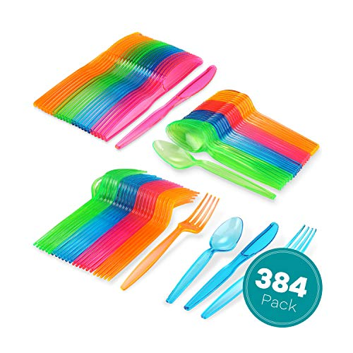 Coloured Plastic Spoons (Neon Cutlery Set, 128 Forks 128 Spoons 128 Knives, Colored Plastic Spoons, Disposable Silverware, Glow in the Dark Neon Party Supplies, Red, Green, Pink,)