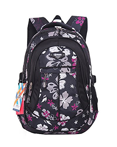 JiaYou Kid Child Girl Flower Printed Backpack School Bag(Black,Large)