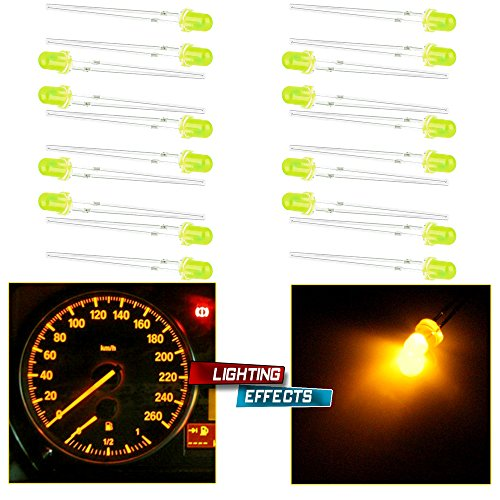 CCIYU 20x 3mm 2V Yellow LED Light Bulb Emitting Diode Lamps BE Used for Light Box Advertising, Signal Indicator