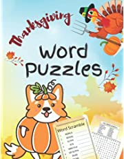 Thanksgiving Word Puzzles: Thanksgiving Activity Book For Kids Ages 8+: Over 70 Word Searches and Word Scramble Puzzles