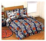 Boys All Sports Comforter & Sheet Set + Pillow! Football Baseball Basketball Soccer Balls (Twin Size)