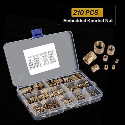CHENBIN-BB ローレットナット、210pcs真鍮シリンダーローレットねじ付きラウンド挿入組み込みナッツ