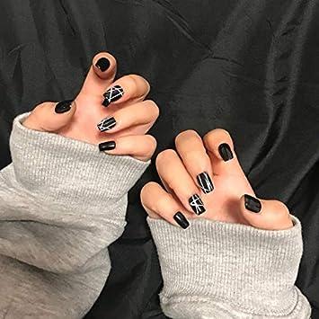 MISUD 24PCS Black Square False Nails Simple White Line