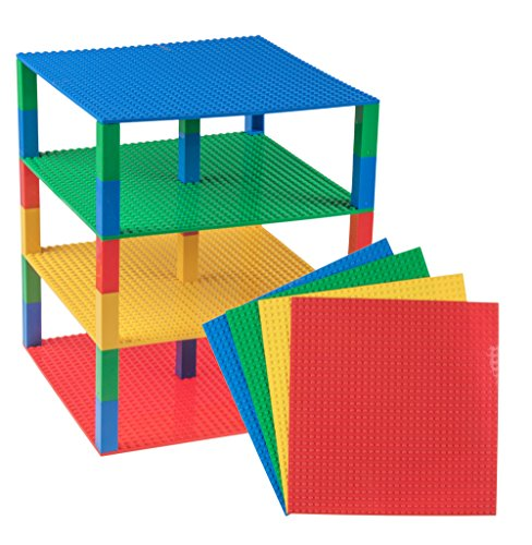 Strictly Briks Classic Baseplates 10 x 10 Brik Tower 100% Compatible with All Major Brands   Building Bricks for Towers   4 Blue, Green, Red & Yellow Stackable Base Plates & 30 Stackers