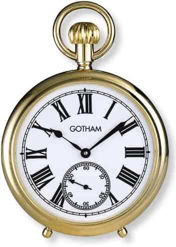 Gotham Men's Gold-Tone Mechanical Pocket Watch with Built-In Stand # GWC14045GA