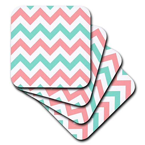 - 3dRose CST_179801_1 Coral Pink & Turquoise Chevron Zig Zag Pattern Teal Zigzag Stripes Soft Coasters, (Set of 4)