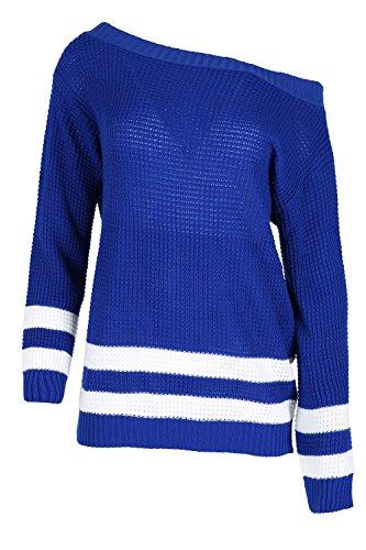 Oops Outlet Femmes Baggy Tricot Pour Femmes Coupe Oversize Tricot RayéÉpaules Apparentes Bardot Top - Bleu Roi, Grande taille (EU 48/50)