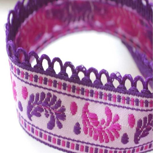 Neotrim French Picot Edge Feather Design Style Pretty Ribbons Online By the Yard. Beautiful 2.5cm wide with loops ribbon; Beautiful art Nouveau Floral Jacquard ribbon design; Haberdashery trimmings; Very subtle (Violet Trim)
