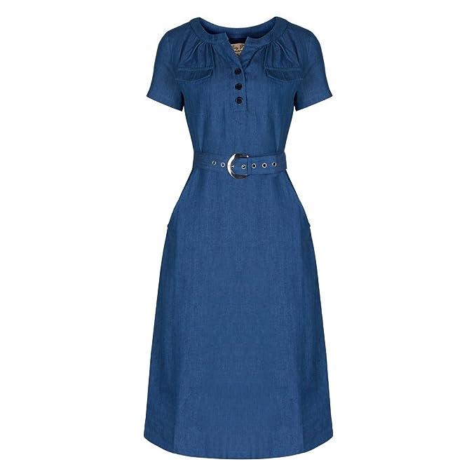 1940s Shirtwaist Dress History Teoni Denim A-line Utility Dress                                             $54.99 AT vintagedancer.com