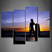 First Wall Art - Girl Holding The Section Of Surfboard Stands On The Bridge Wall Art Painting Pictures Print On Canvas Seascape The Picture For Home Modern Decoration