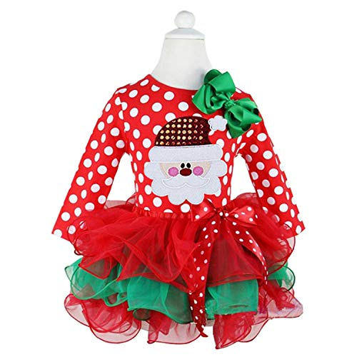 NNJXD Christmas Toddler Baby Girls Outfits Polka Dot Xmas Tutu Dress Santa Claus Pattern Red Dresses Size 1-2 Years Red&White