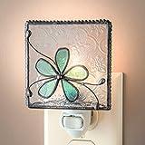 J Devlin NTL 129-3 Stained Glass Aqua Blue Flower Night Light Decorative Bedroom Bathroom Nursery Nite Lite