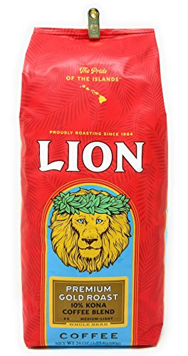 Lion Coffee PREMIUM GOLD ROAST, 10% Kona Coffee Blend, MEDIUM-LIGHT Roast, Whole Bean, HUGE 24 Oz. 1.5 lb BARGAIN Bag with Bag Clip