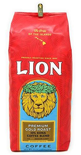 Lion Coffee PREMIUM GOLD ROAST, 10% Kona Coffee Blend, MEDIUM-LIGHT Roast, Whole Bean, HUGE 24 Oz. 1.5 lb BARGAIN Bag with Bag -