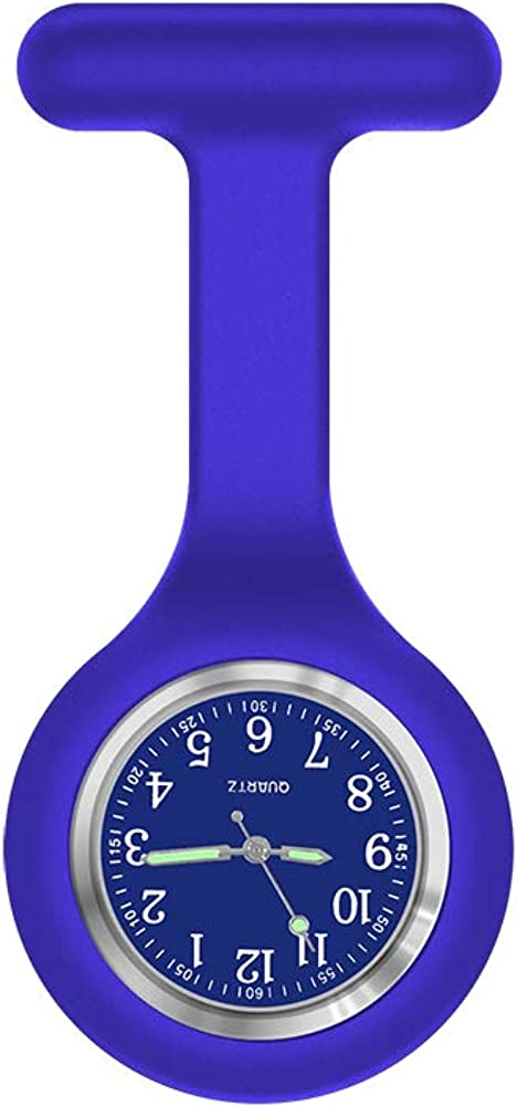 Reloj para enfermera, aguja brillante en la oscuridad, correa de silicona con clip, reloj de bolsillo para trabajadores del ámbito sanitario