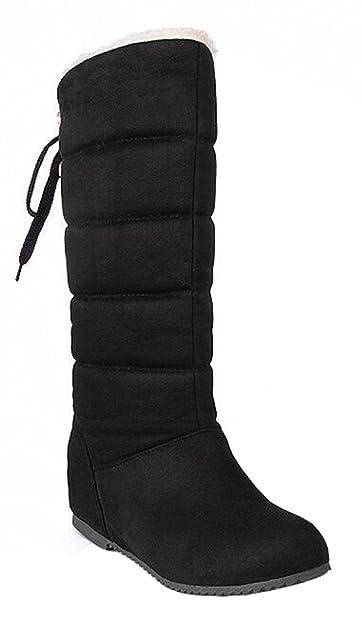Women's Casual Waterproof Fully Fur Lined Pull On Mid Calf Heighten Mid Wedge Heel Winter Warm Snow Boots