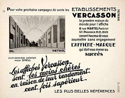 1928 Ad Etablissements Vercasson French Advertising Art Deco Shell Oil Gas VEN5 - Original Print Ad from PeriodPaper LLC-Collectible Original Print Archive