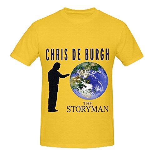 Chris De Burgh The Storyman Rock Mens Crew Neck Custom Tee Shirts Yellow ()